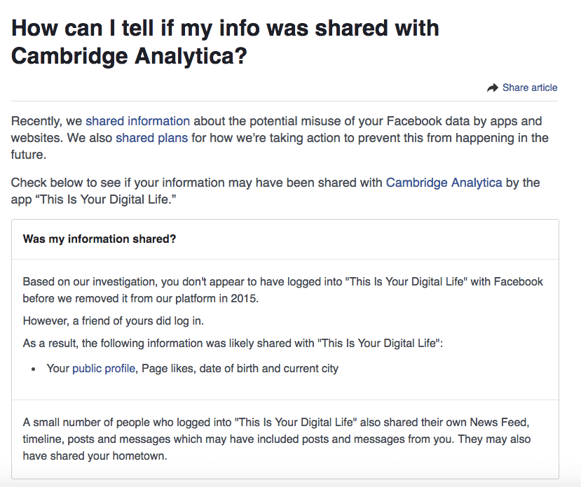 How to tell whether your Facebook data was harvested by Cambridge